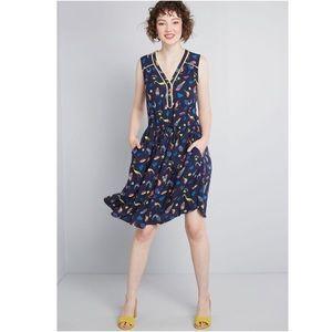 Cafe au soleil sleeveless dress L retro ModCloth